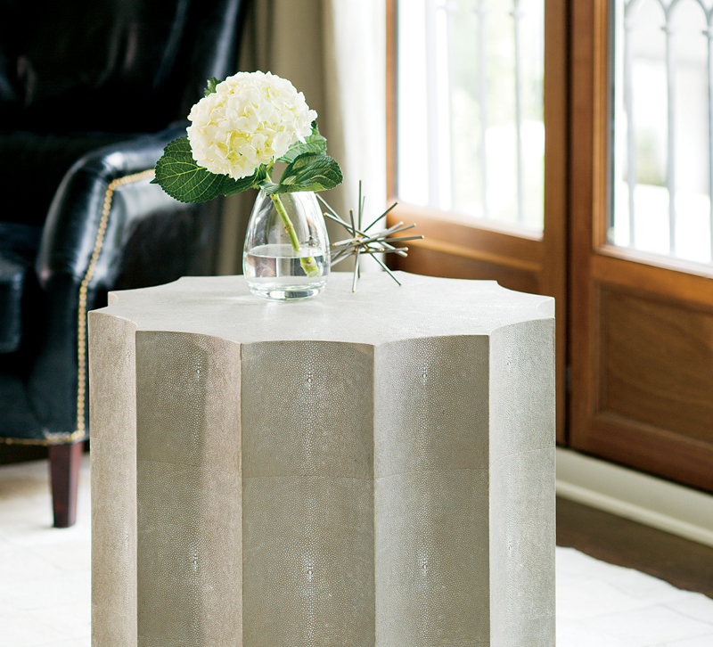 Marilyn scalloped table in shagreen from Regina Andrew Design