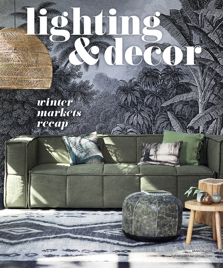 Lighting & Decor March 2018 palm fronds green couch