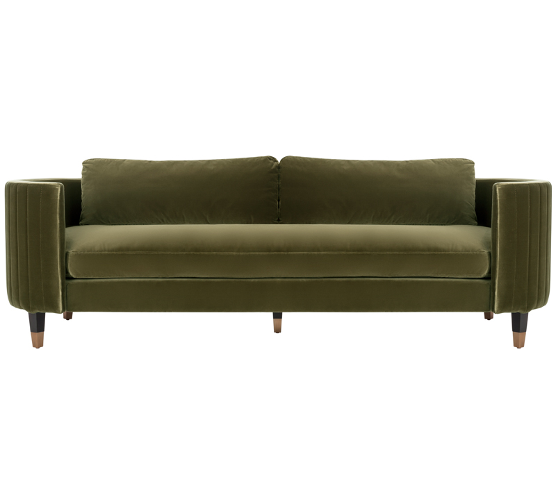 Winford Velvet Sofa in Giotto Dark Olive Green from Safavieh