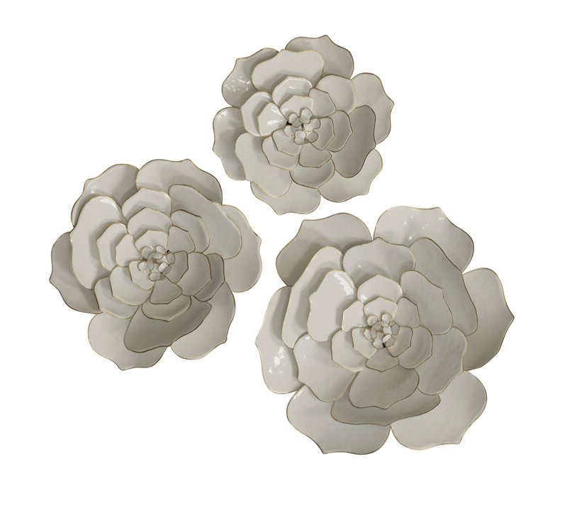 White Perennials Wall Decor in a set of three from Stylecraft