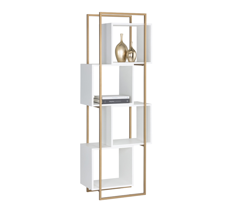 Jigsaw four-shelf Bookcase with a brass frame and white concrete box shelves from Sunpan
