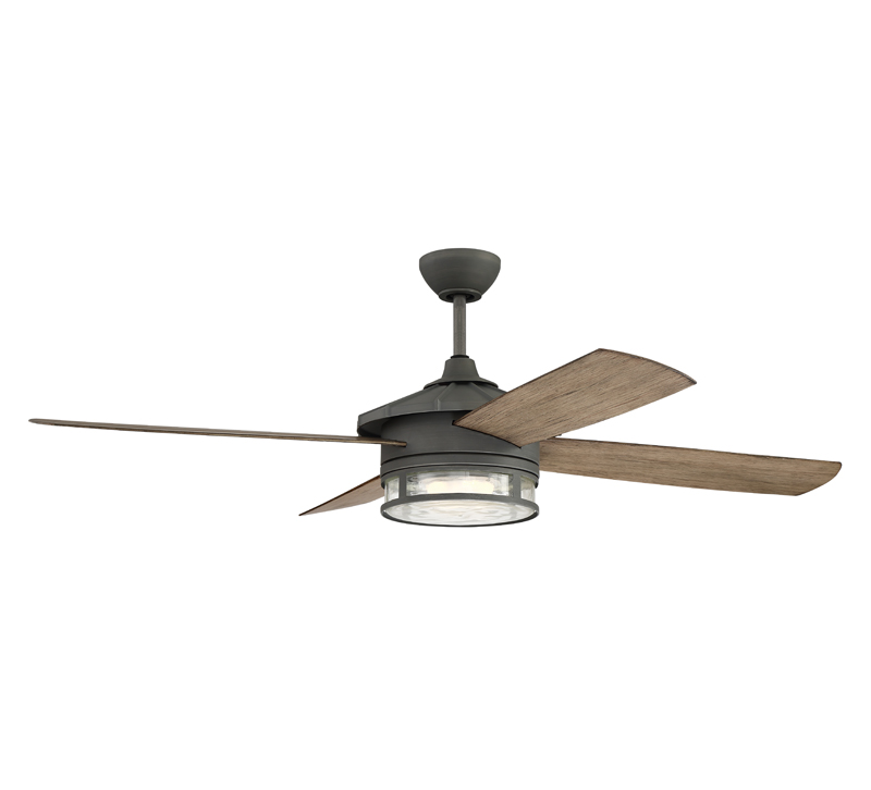Stockman Ceiling Fan with Driftwood blades and an Aged Glavanized center from Craftmade