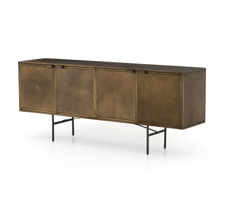Sunburst four-door sideboard in Gunmetal with a starburst design on each door from Four Hands
