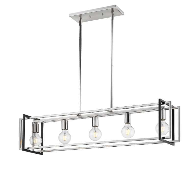 Two-tone Tribeca Linear Chandelier in Pewter and Matte Black from Golden Lighting
