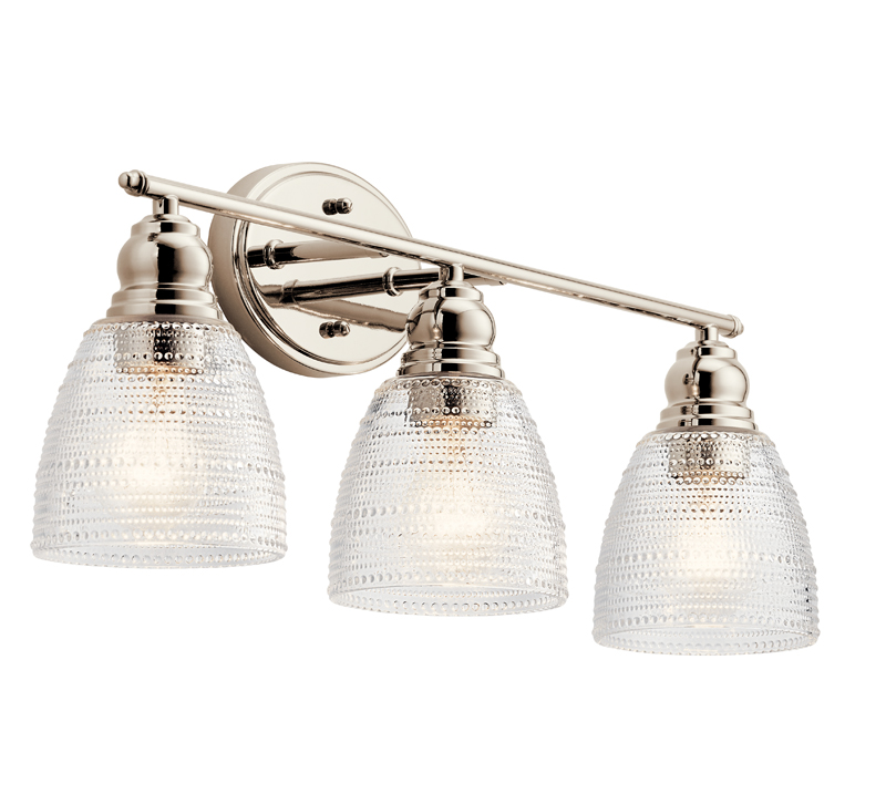 Karmarie three-light Bath Light in Nickel with seeded glass around three lights from Kichler Lighting