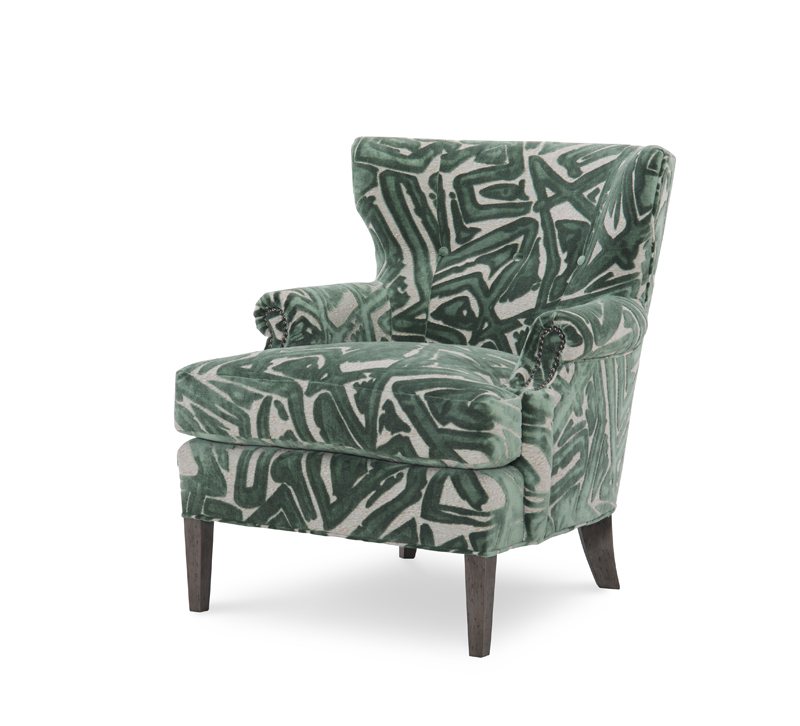 Warren Chair with a high back, nailhead trim and green printed fabric from Wesley Hall