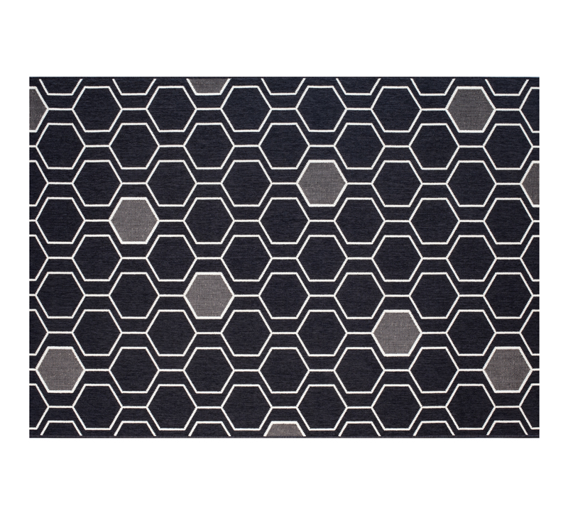 Treasure Garden Geo-Black Outdoor Rug