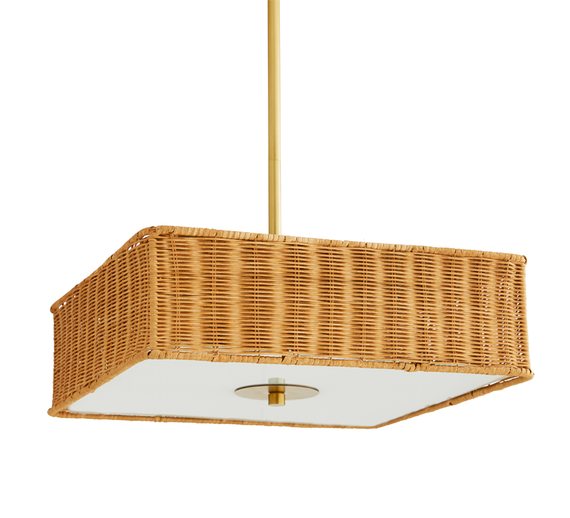 Vero rectangular pendant with a wicker frame from Arteriors Home