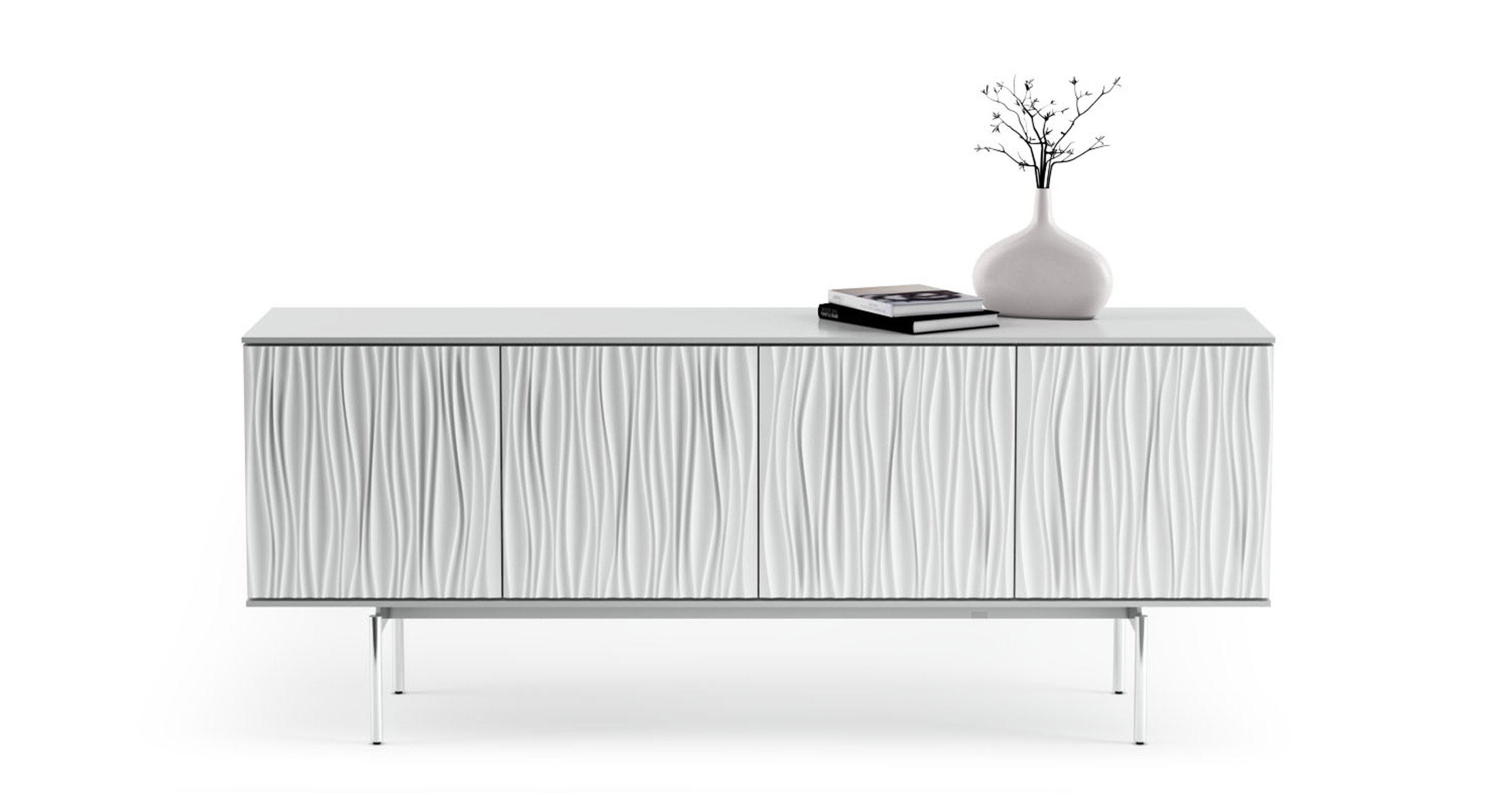 Tanami four-paneled Credenza in a Satin White finish from BDI