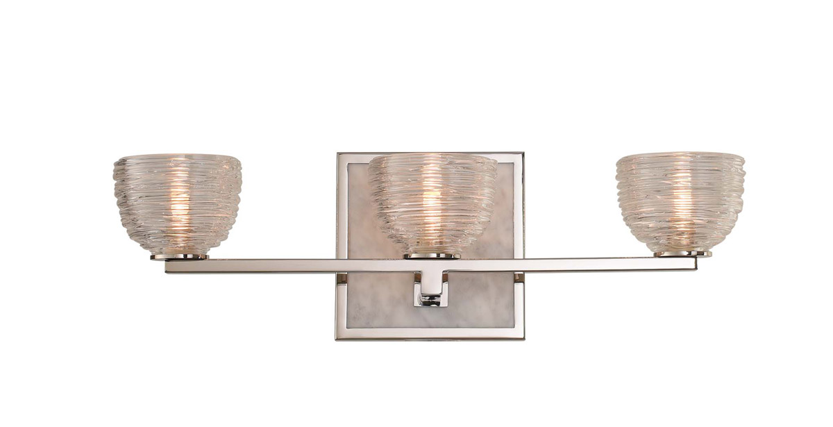 Bianco bathroom vanity light with three lights and gold backplate from Kalco Lighting