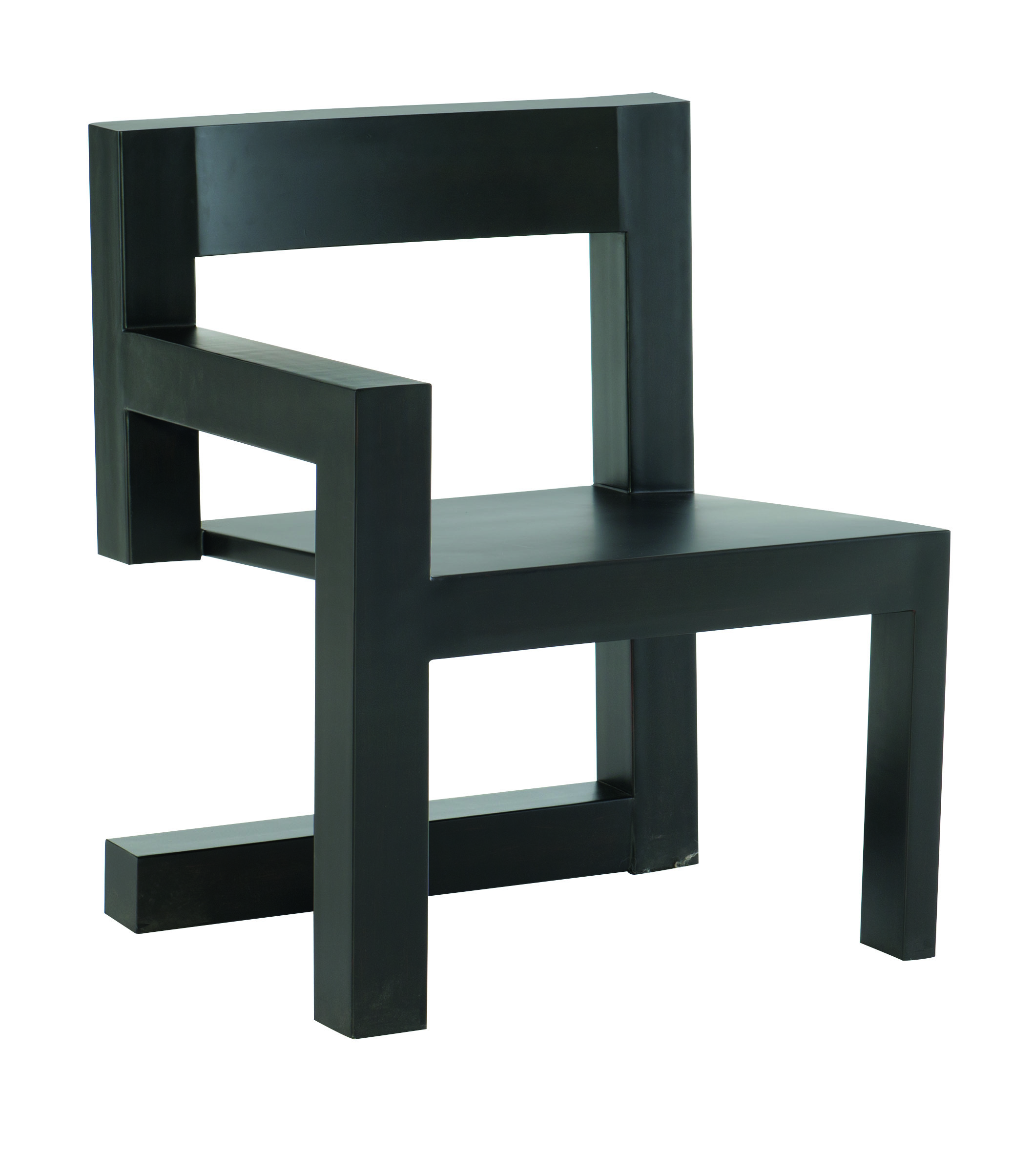 black chair inspired by De Stijl movement