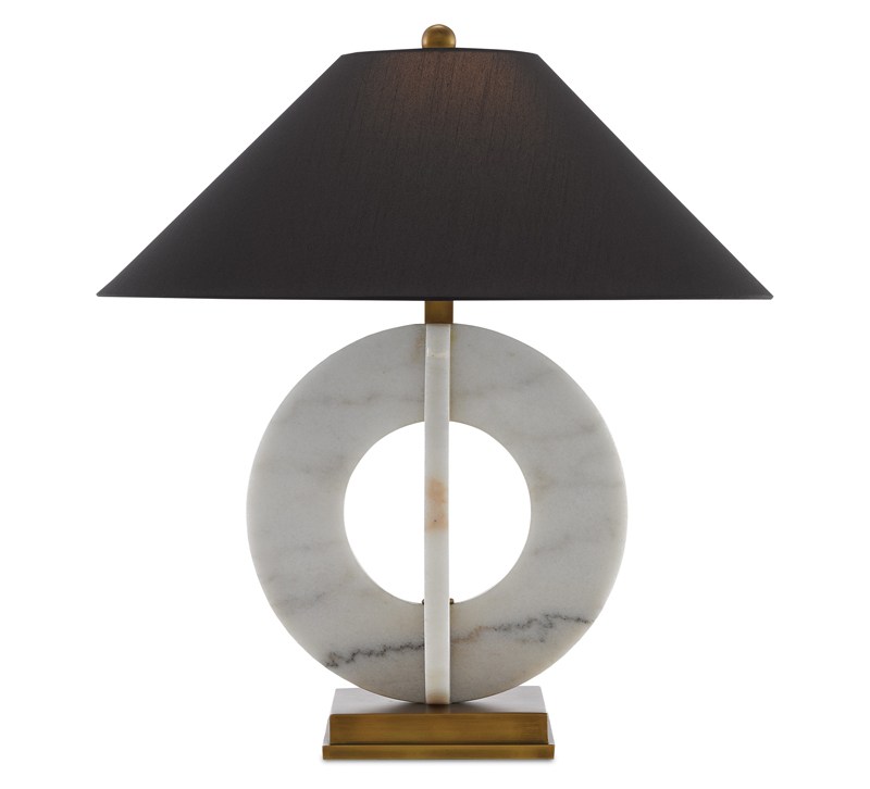 Felice table lamp with a black shade, brass base and marble interlocking rings from Currey & Co.