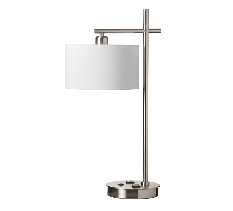 131T-SC incandescent table lamp with a white shade and USB ports from Dainolite