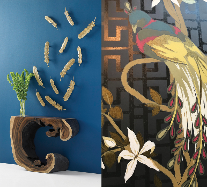 Dann Foley's wall feathers for Phillips Collection paired with Peacock wallpaper from Nina Campbell