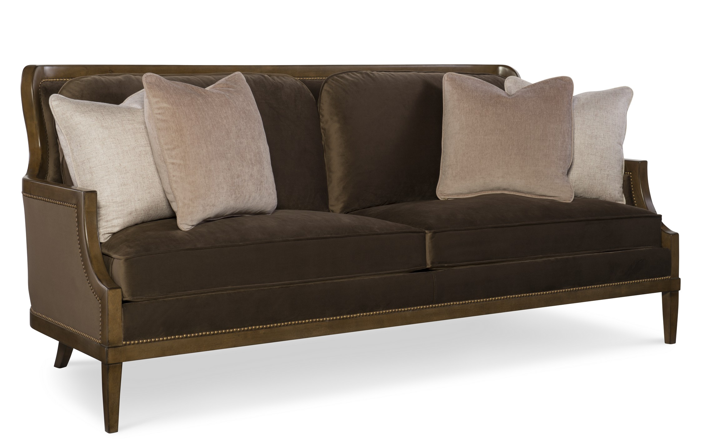 Bradford traditionally designed sofa in a chocolate brown fabric from Fine Furniture