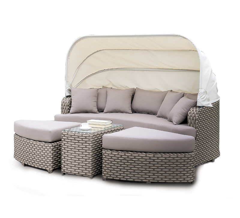Riya outdoor sectional in gray with white hood from Furniture of America