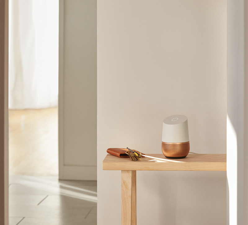 Google Home in copper on console