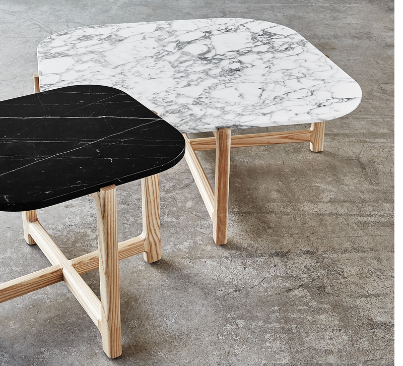 White and black marble Quarry tables from Gus Design Group