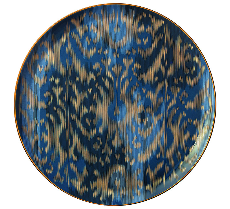 Hermes of Paris Voyage en Ikat dinner plate