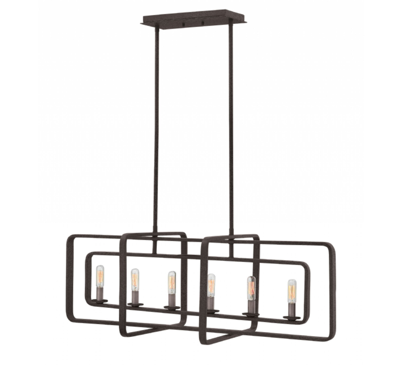 Quentin six-light linear chandelier in a Heritage Brass finish from Hinkley Lighting