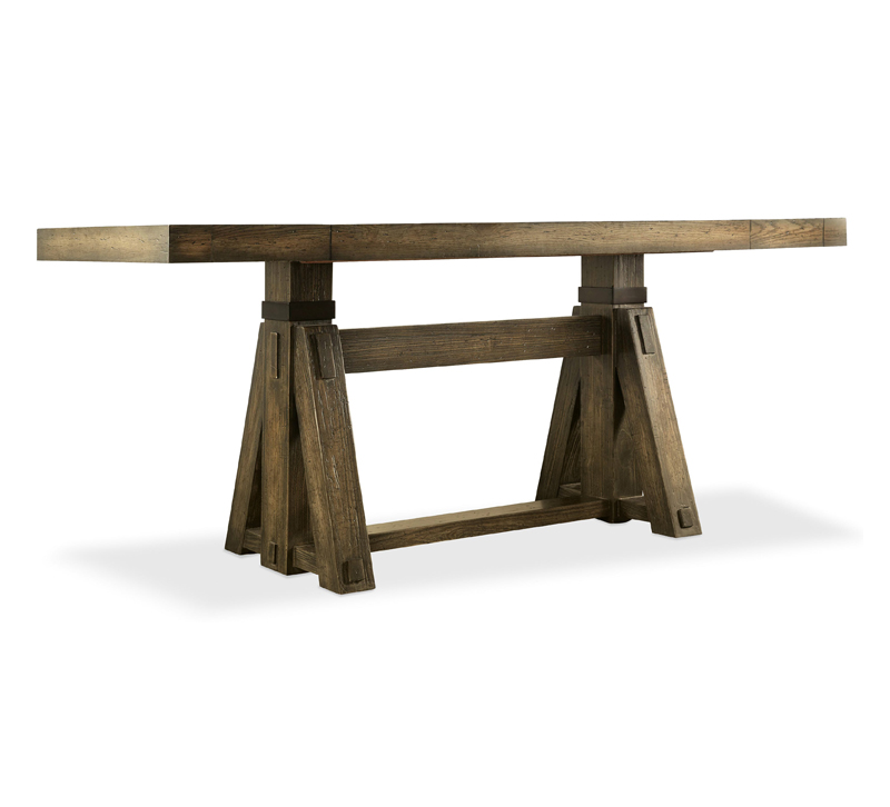 Crafted Friendship table made of solid and oak veneers with a triangle base from Hooker Furniture