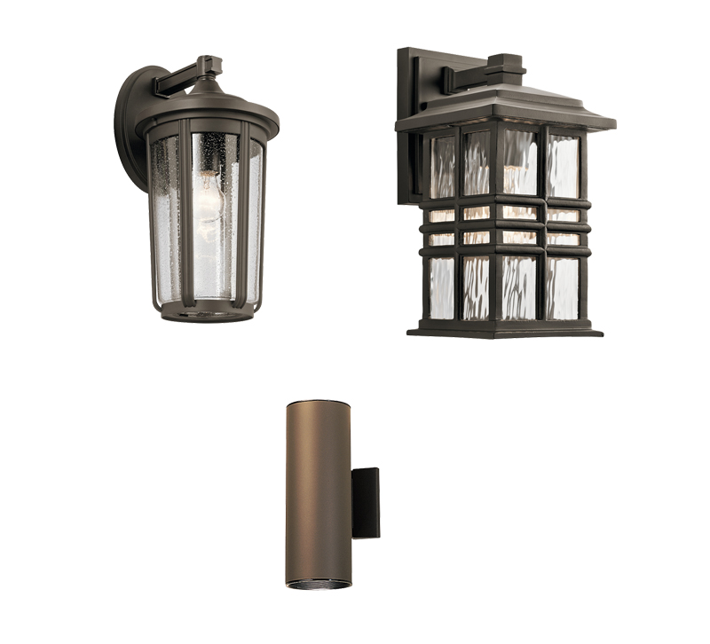 Three outdoor lighting sconces from Kichler Lighting