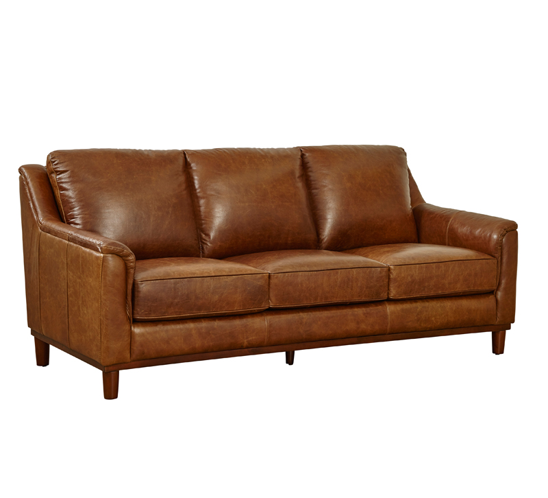 Maddox brown leather three-seat sofa from Lazzaro Leather