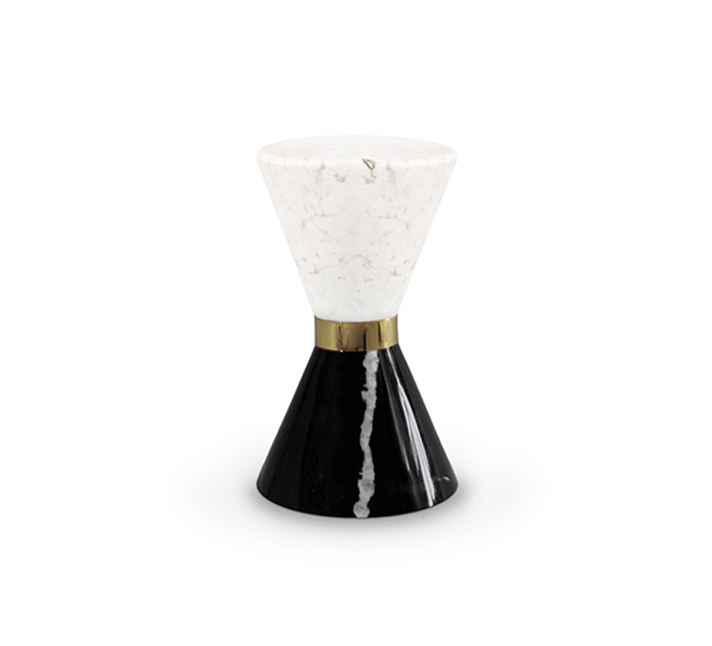 Marble hourglass Vinicius side table from Maison Valentina