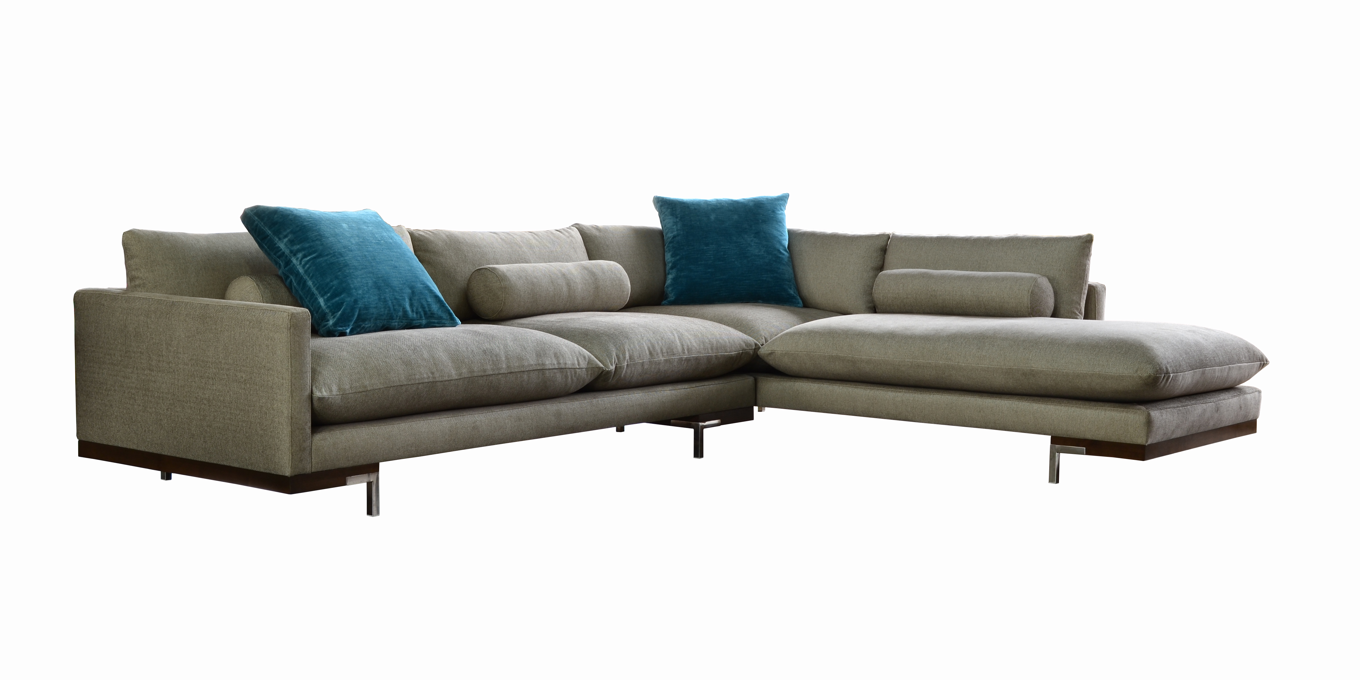 Bonn sectional sofa with blue pillows from Nathan Anthony