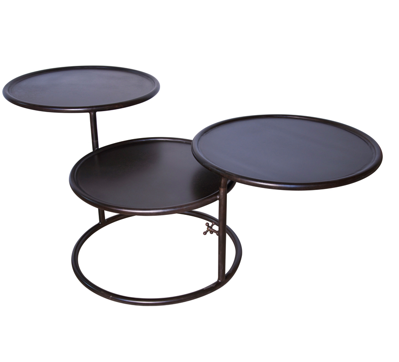 Black Baxter table with three stretching tables from Noir