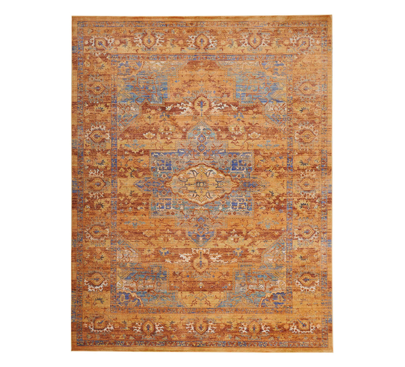 Delmar traditional-style area rug in blue and Russet colors from Nourison
