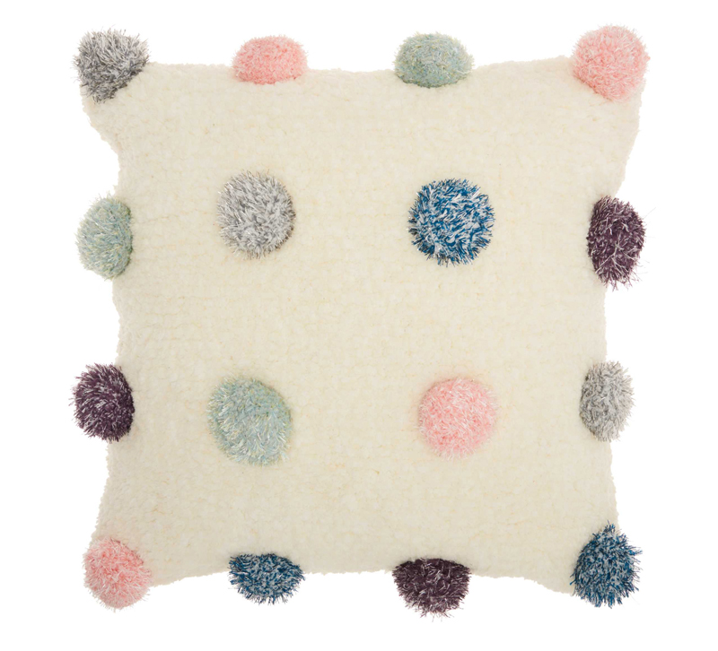 Square beige pillow with gray, blue, pink, purple and green puffs from Nourison