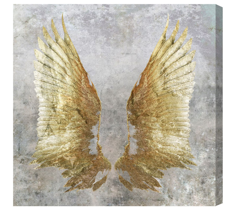 My Golden Wings wa;; art with two golden wings on a gray background from Oliver Gal