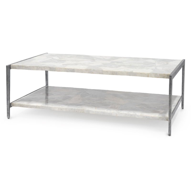 Preston one-shelf, gray and white marble coffee table from Palecek