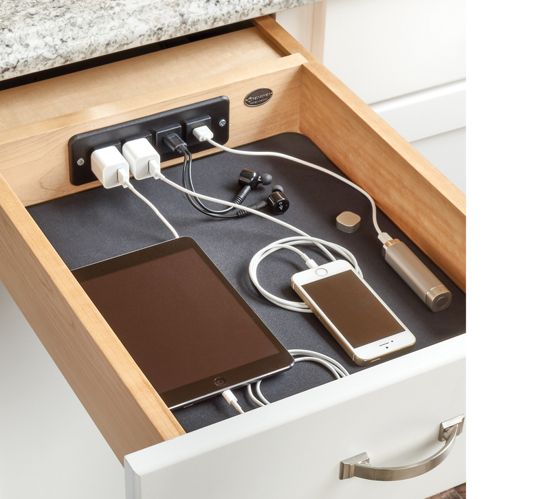 4WCDB charging drawer with outlets and USB ports