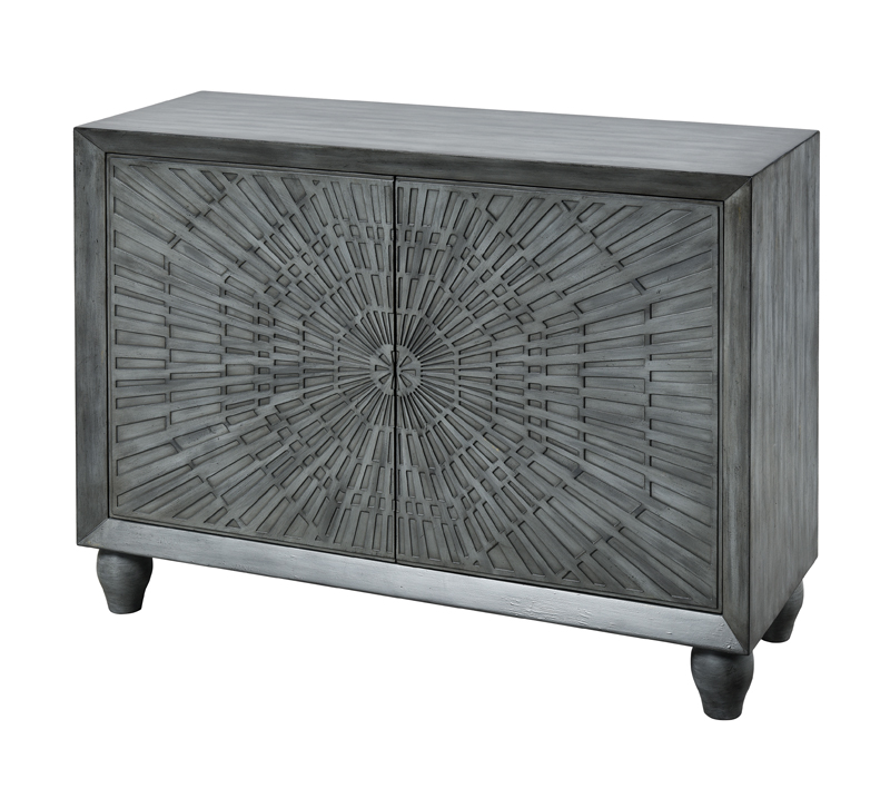 Tuamotu gray two-door cabinet with starburst design from Stein World