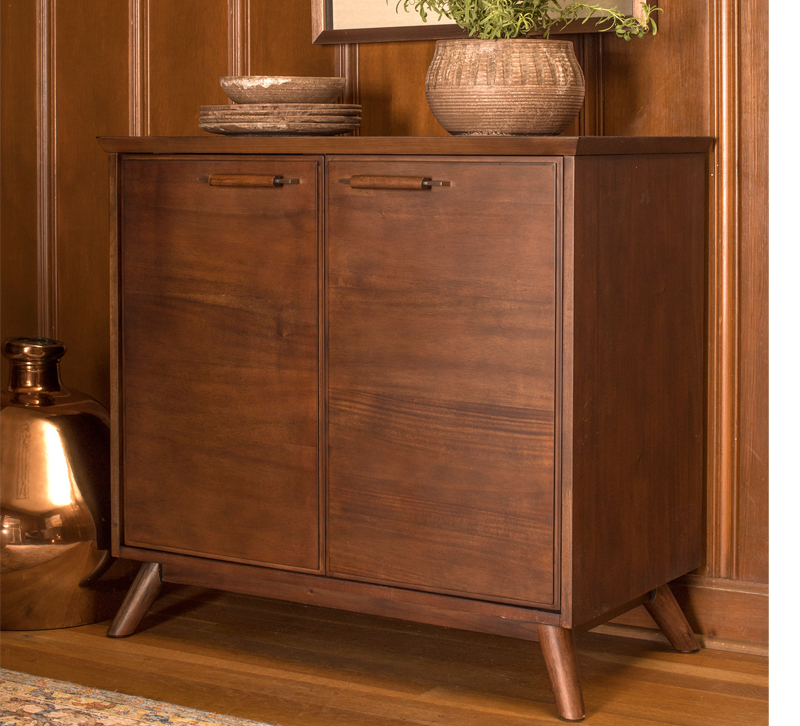 Mid-Century modern brown cabinet with two doors from StyleCraft