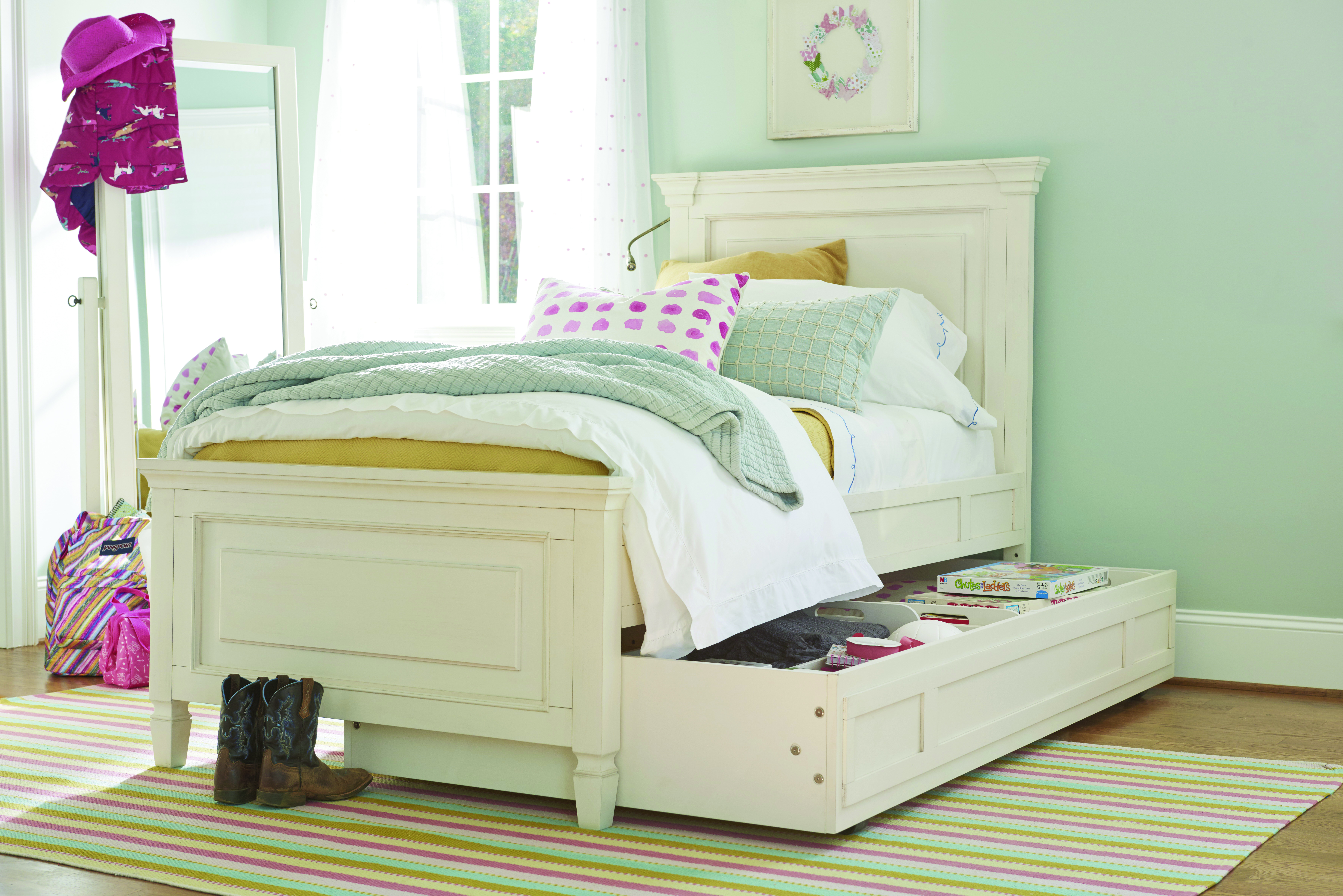 Summer HIll white bed with drawer underneath and light on the side from Universal Furniture