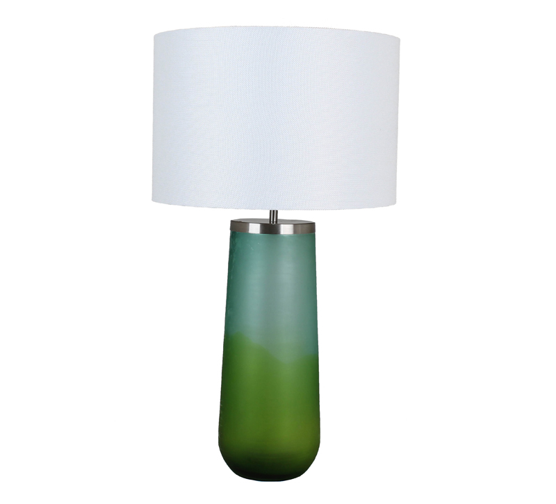 Seafoam glass table lamp with a white shade from Viterra
