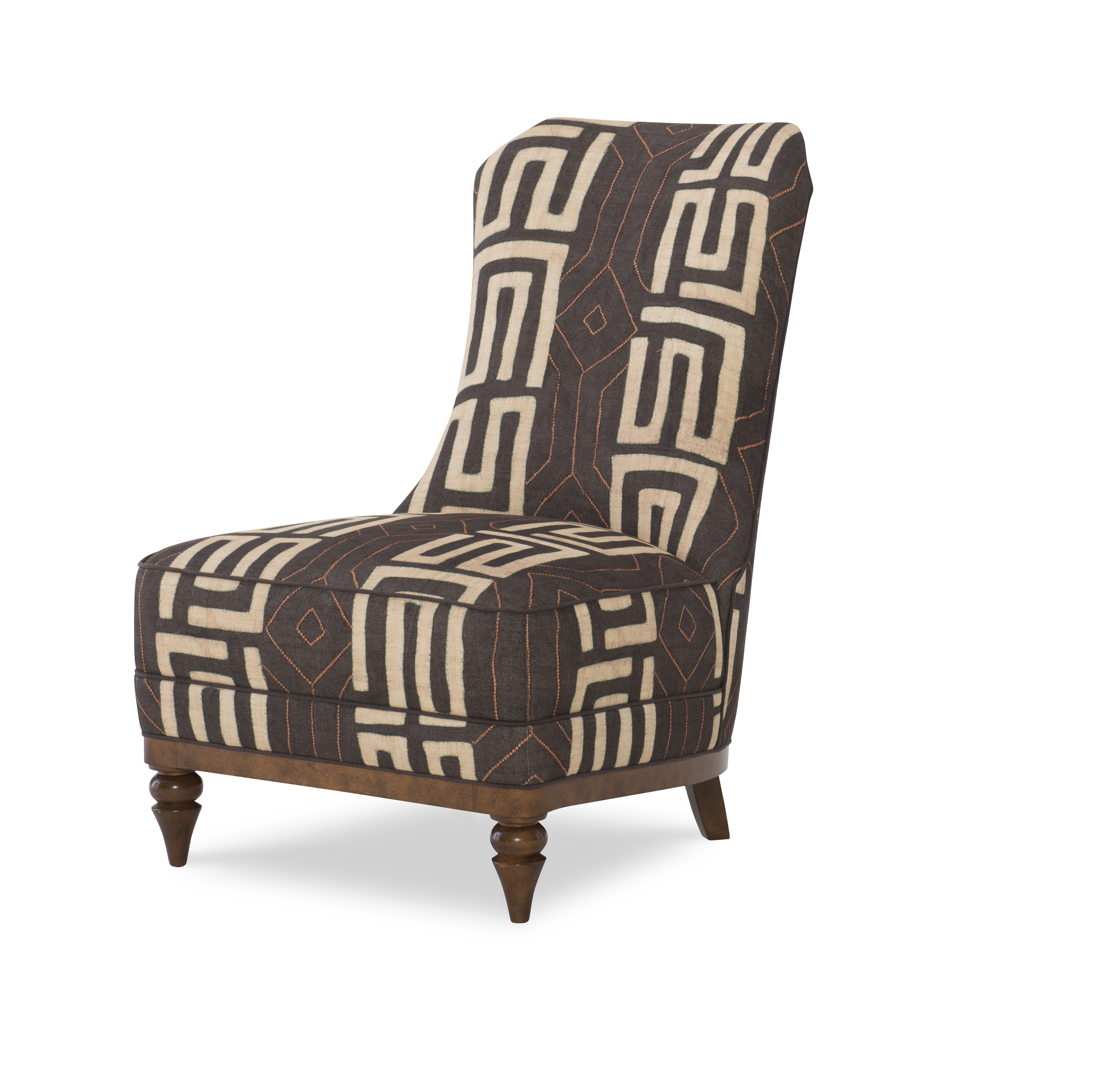 Urbane armless slipper chair with geometric patterns from Wesley Hall