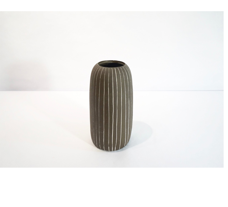 Dark Pen stripe vase made of ceramic from Workday Handmade