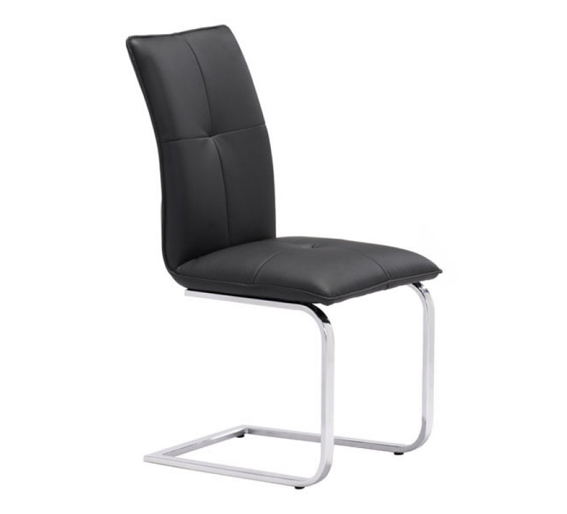 Anjou dining chair with a black seat and back and chrome legs from Zuo Modern