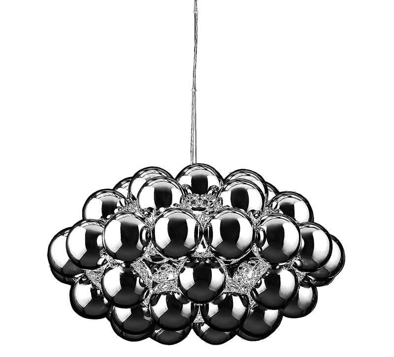 Anjou pendant with glass orbs in silver from Zuo Modern