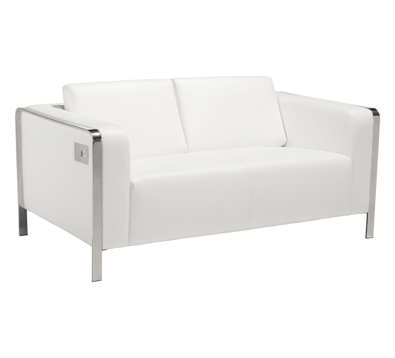 Thor white loveseat with chrome accents from Zuo Modern