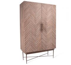Etacle two-door, tall cabinet with a chevron pattern and brass accents from Bliss Studio