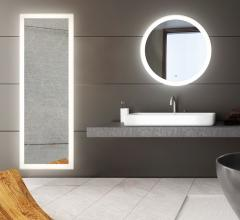 Edge-Lit round LED Mirror in a bathroom from Eurofase