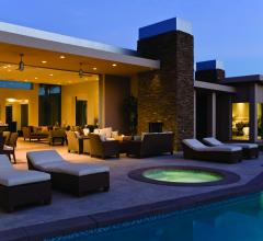 Eaton's Z-Wave wireless collection lets users control lighting throughout their home, even in near the pool as seen here.