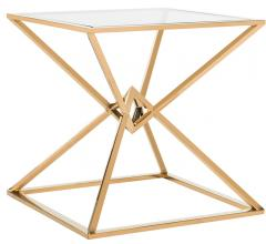 Fiorella Glass End Table with a brass finish from Safavieh Couture