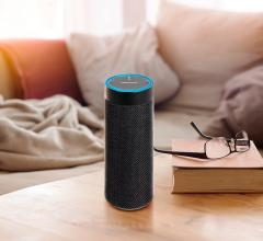 Amazon Echo in black on table