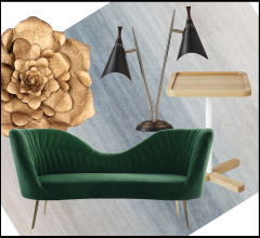 Idea Board collage featuring sofa, rug, side table, lamp and decorative accessory.